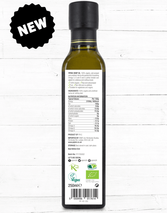 Pipkin hemp oil rear label