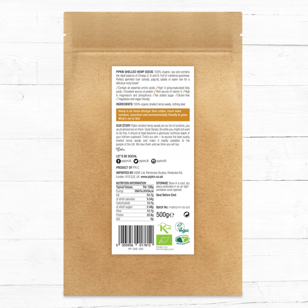Organic shelled hemp seeds nutritional values