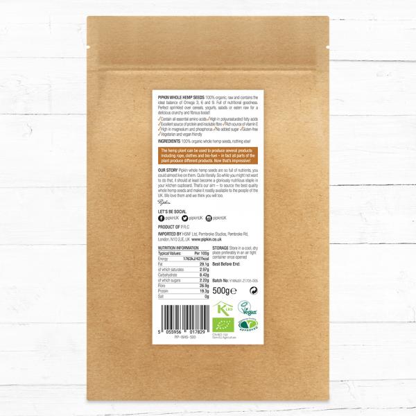 Whole hemp seeds nutrition