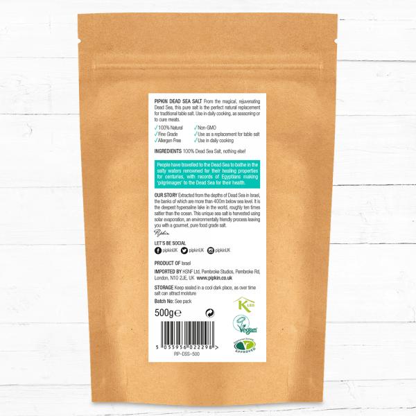 Pipkin Dead Sea Salt back label